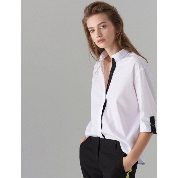 d75b30ab8a0489 Koszula oversize z taśmami - Biały - Koszule marki Mohito. Za 89.99 ...