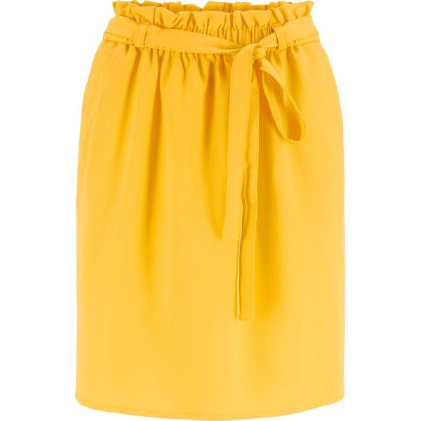 f74afdafcc99e4 Spódnica z gumką i wiązanym paskiem w talii bonprix żółty kanarkowy ...