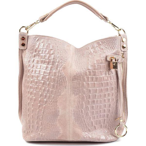 602faaad76160 Skórzana torebka w kolorze cielistym - 33,5 x 40 x 17 cm - Brązowe ...