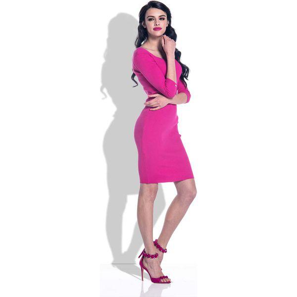 2446276f2f Amarantowy Sukienka Bodycon z Rękawami 3 4 - Sukienki marki Molly.pl ...
