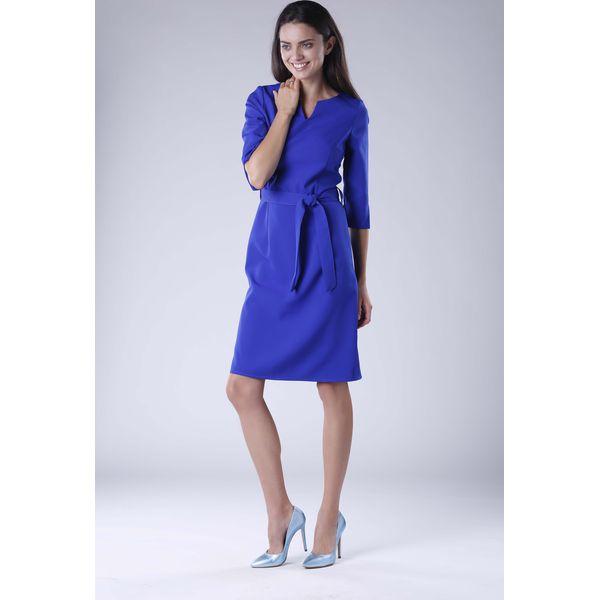c52010abe7 Kobaltowa Sukienka Wiązana w Pasie z Rękawem 3 4 - Niebieskie ...