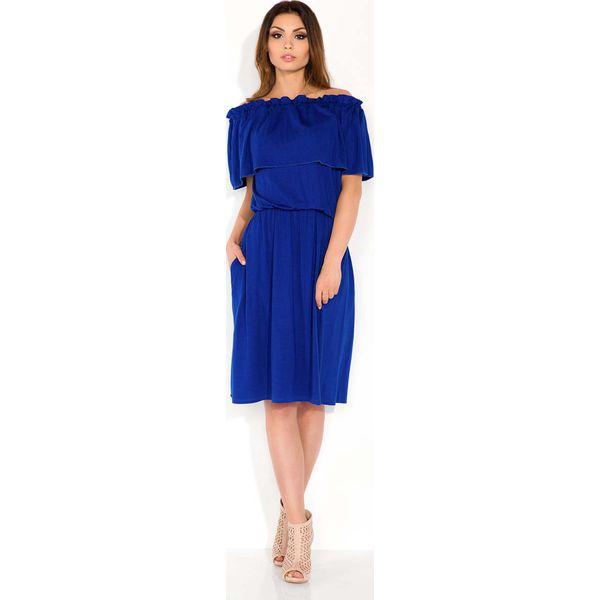 2ead8e21b4 Chabrowa Sukienka Midi z Hiszpańskim Dekoltem - Sukienki marki Molly ...