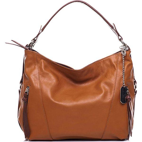 90aceb6146627 Skórzana torebka w kolorze jasnobrązowym - 32 x 25 x 12 cm - Brązowe ...