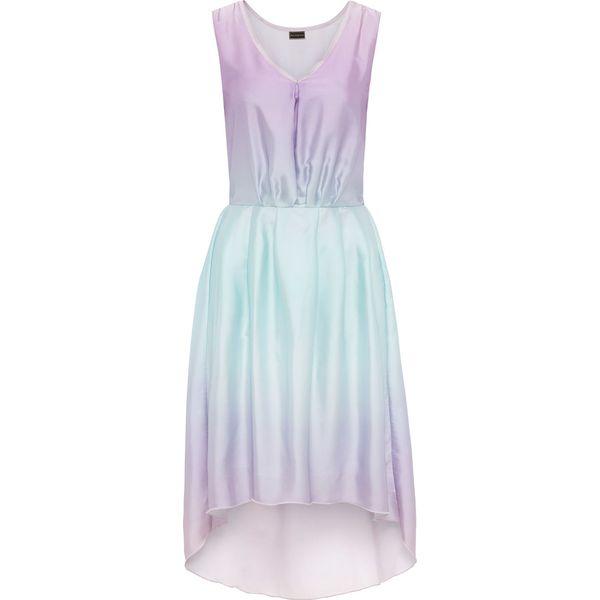 643e326a73 Sukienka z materiału w optyce jedwabiu bonprix różowo-turkusowy ...
