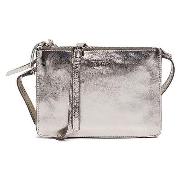 Skórzana torebka w kolorze srebrnym (S)22,5 x (W)16,5 x (G)5 cm