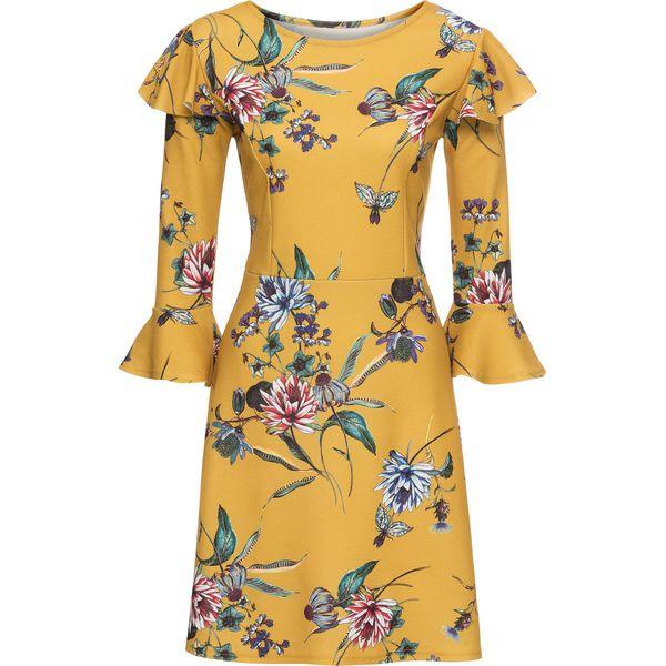 c6960e60d8 Sukienka z falbanami bonprix żółty w kwiaty - Żółte sukienki marki ...