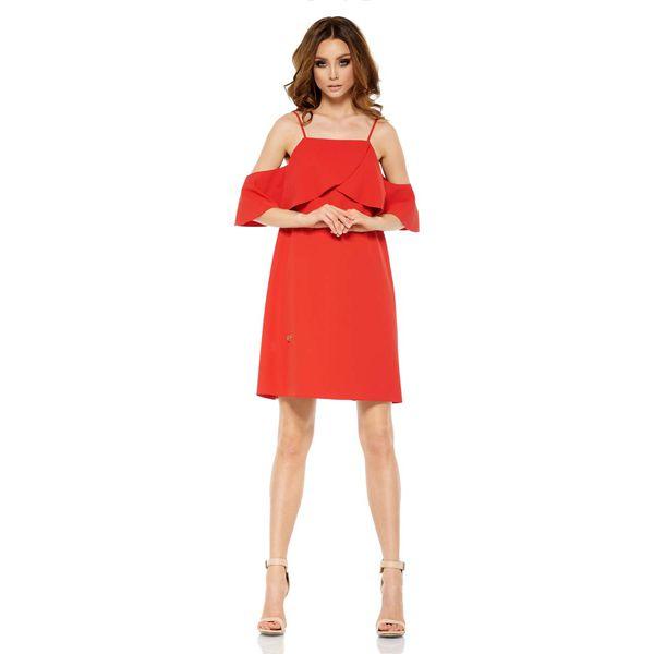 16ce2e5c91 Czerwona Wyjątkowa Trapezowa Sukienka z Falbanką z Odkrytymi ...