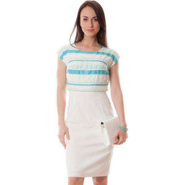 dd215dcc7d Sukienka w kolorze jasnoniebiesko-ecru - Białe sukienki marki Semper ...