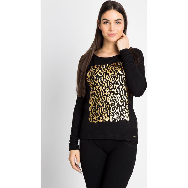 2972fbeb3ee9d3 Czarna bluzka ze złotym nadrukiem QUIOSQUE - Bluzki marki QUIOSQUE ...