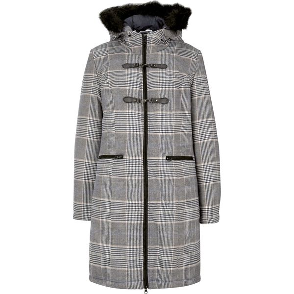 Krótki płaszcz bonprix niebieski w kratę