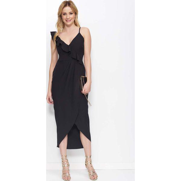 a4ab83034f Czarna Sukienka Długa Kopertowa z Falbankami - Czarne sukienki marki ...