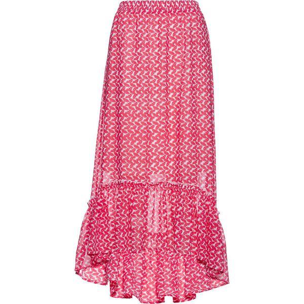 Spódnica szyfonowa z falbaną bonprix różowy hibiskus biały z nadrukiem