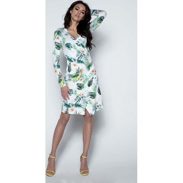 3ef69a6626 Biała Sukienka Wizytowa Kopertowa z Tropikalnym Motywem - Sukienki ...
