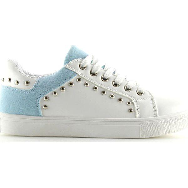Trampki damskie biało niebieskie LA09 Blue białe