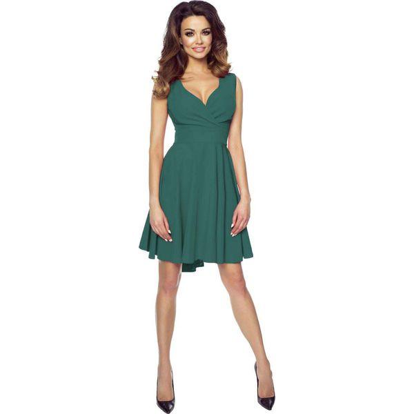 a98e26953a Zielona Zmysłowa Sukienka z Kopertowym Dekoltem na Szerokich ...