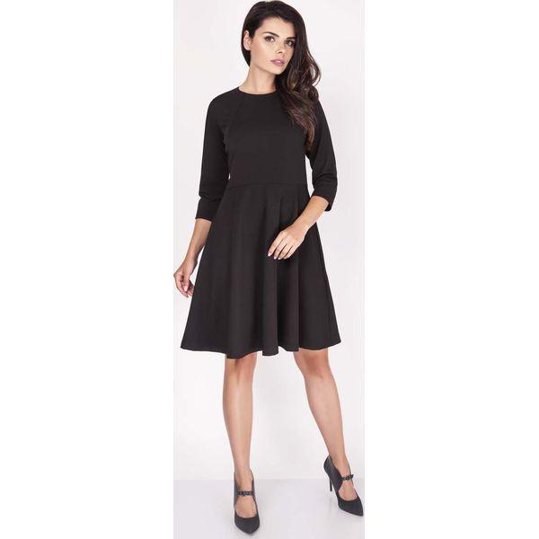 902a93c086 Czarna Sukienka z Szerokim Dołem z Rękawem 1 2 - Czarne sukienki ...