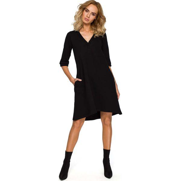 37701cd0 Czarna Trapezowa Sukienka Dzianinowa z Dekoltem V