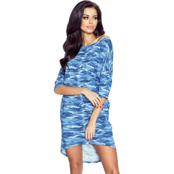 c5947b2b Niebieska Sukienka z Dłuższym Tyłem - Moro
