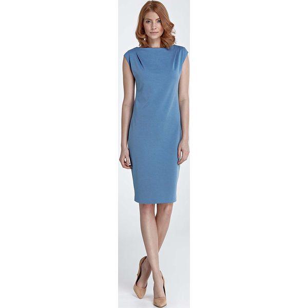 093b7c8d50 Niebieska Sukienka Prosta Klasyczna przed Kolano - Sukienki . W ...