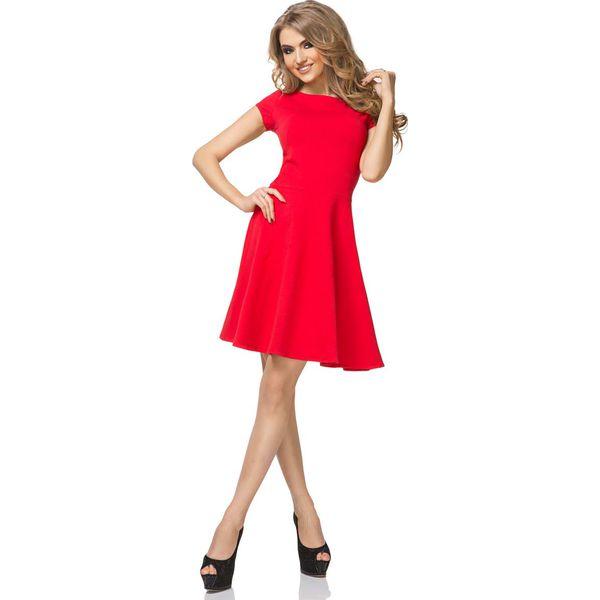 f61377d22 Czerwona Sukienka Klasyczna Rozkloszowana z Mini Rękawkiem ...
