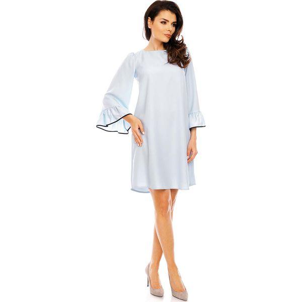 c82038781a Błękitna Szykowna Trapezowa Sukienka z Falbankami przy Rękawach ...