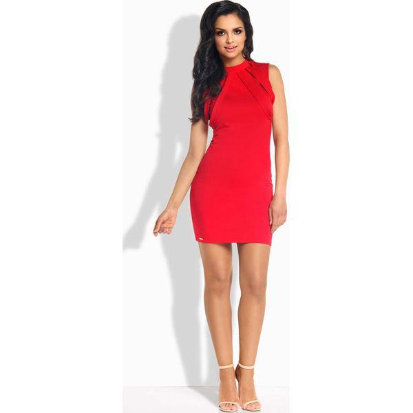 5a21ebc260 Czerwona Sukienka Ołówkowa Mini z Ozdobnymi Paskami - Czerwone ...