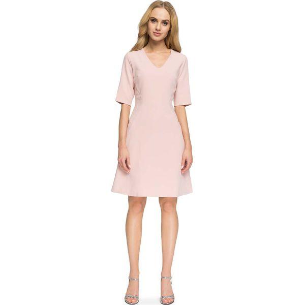 03d9892ad4 Pudrowa Krótka Wizytowa Sukienka z Dekoltem V - Sukienki marki Molly ...