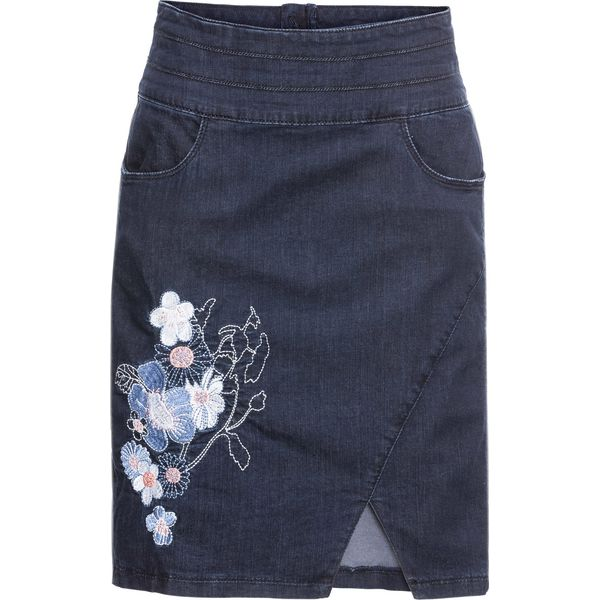 493a11d8 Spódnica dżinsowa z haftem bonprix ciemnoniebieski