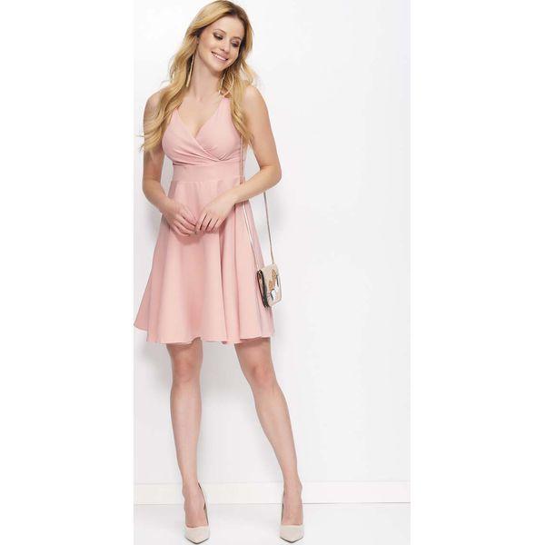 ecc0924b8f Różowa Sukienka Rozkloszowana z Kopertowym Dekoltem - Czerwone ...