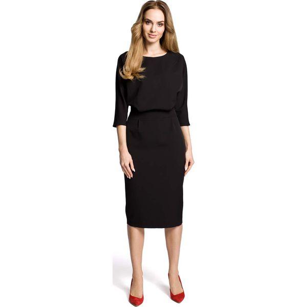 a314424ca5 Czarna Sukienka Wizytowa Midi z Kimonowym Rękawem 3 4 - Czarne ...