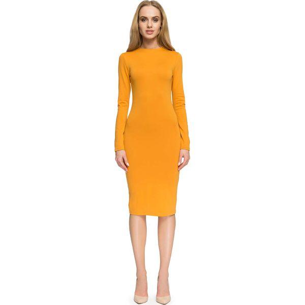 2b721e8cd9 Miodowa Elegancka Dopasowana Sukienka za Kolano - Żółte sukienki ...
