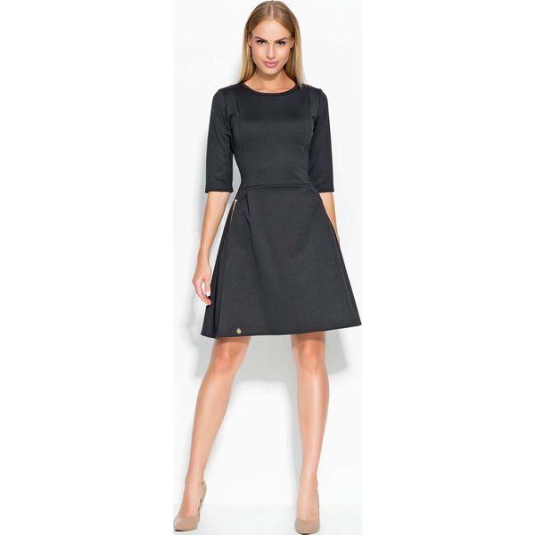 75714bee159 Czarna Sukienka Rozkloszowana z Ozdobnymi Suwakami