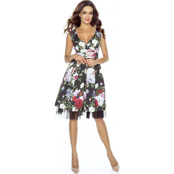 ac0770b571 Kolorowa Sukienka Koktajlowa w Kwiaty z Tiulem - Wzór 3 - Szare ...