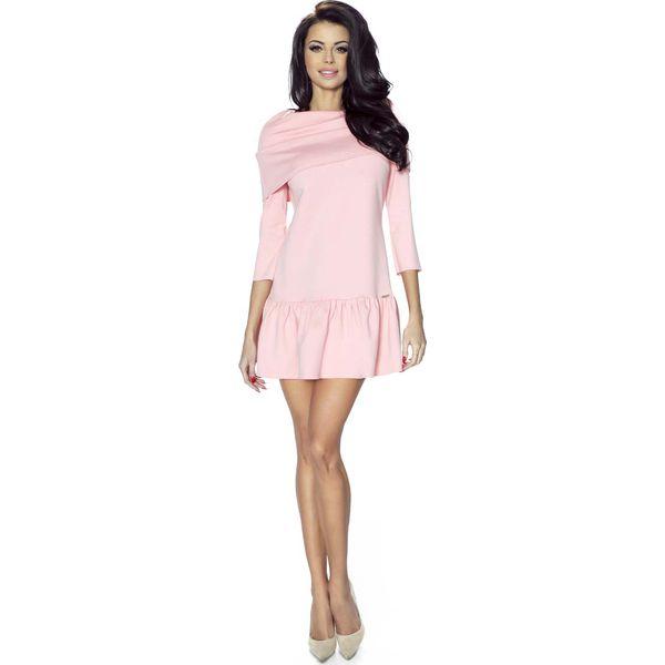 e252f52e7e2cd Jasno Różowa Sukienka z Falbanką i Wykładanym Golfem - Czerwone ...