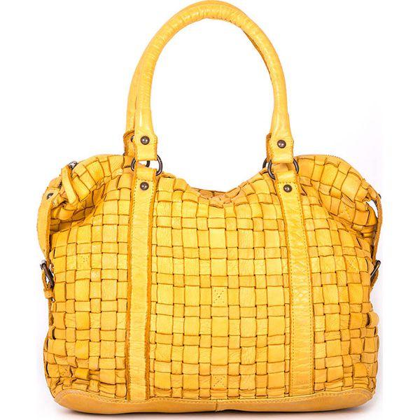 b001e4d4c7ba5 Skórzana torebka w kolorze żółtym - 33 x 27 x 13 cm - Żółte torebki ...
