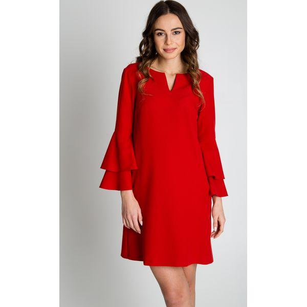 c9e307d15e Czerwona sukienka z falbaną na rękawach BIALCON - Sukienki marki ...