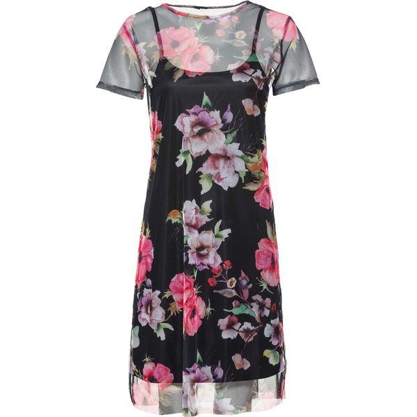 d11afda5ed Sukienka siatkowa w kwiaty bonprix czarny z nadrukiem - Czarne ...