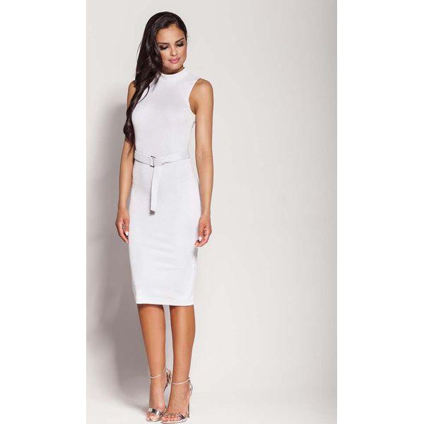 2a802b8874 Biała Elegancka Ołówkowa Sukienka z Połyskiem - Białe sukienki marki ...