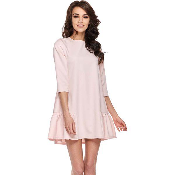 f76ec490f2 Różowa Codzienna Trapezowa Sukienka z Falbanką - Czerwone sukienki ...