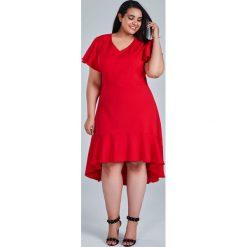 343f7b6c Czerwona sukienka NILA na wesele duże rozmiary OVERSIZE PLUS SIZE WIOSNA