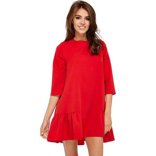 329262b8f7 Czerwona Codzienna Trapezowa Sukienka z Falbanką - Czerwone sukienki ...
