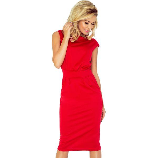 eb73f7fe06 Czerwona Sukienka Elegancka Midi z Zaznaczoną Talią - Czerwone ...