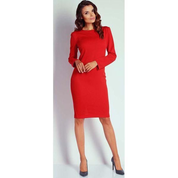 1d6953313f Czerwona Dopasowana Sukienka przed Kolano - Czerwone sukienki marki ...