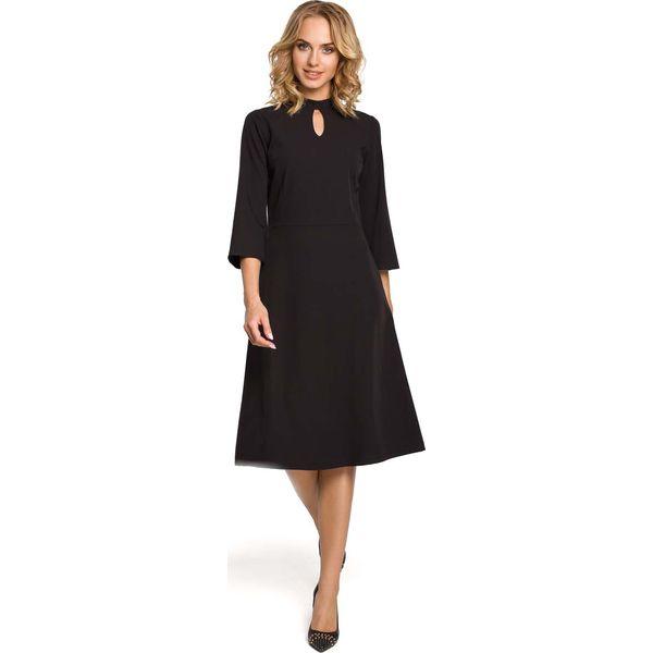f0caadda02 Czarna Sukienka Wizytowa z Rozkloszowanymi Rękawami - Sukienki marki ...