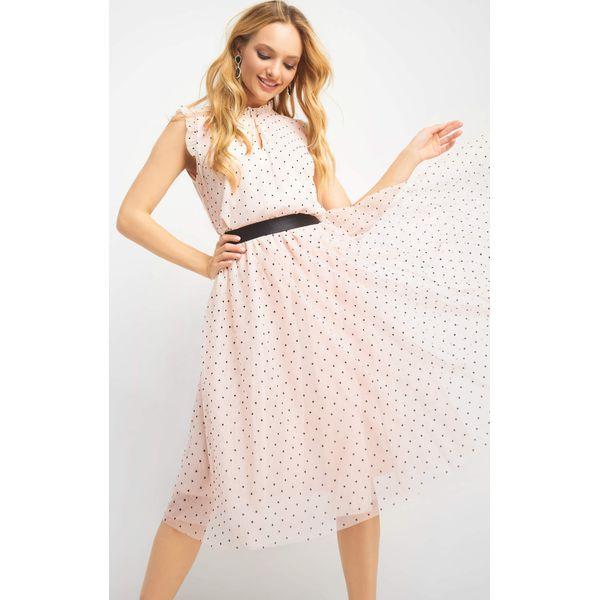 9586ee21 Tiulowa spódnica w groszki