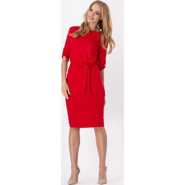 81fab5c356e734 Czerwona Kobieca Sukienka Midi z Podpinanym Rękawem z Paskiem ...