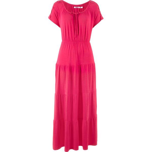 08ddbd228 Sukienka, krótki rękaw bonprix różowy hibiskus - Czerwone sukienki ...