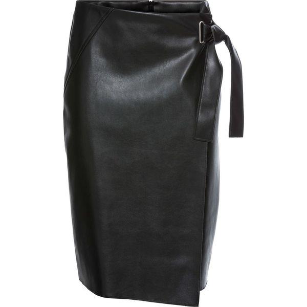 491ddc030e5669 Spódnica ze sztucznej skóry z założeniem kopertowym bonprix czarny ...