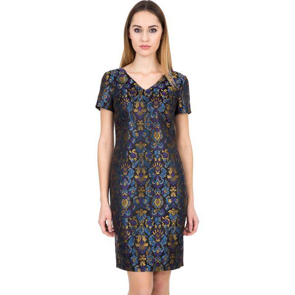 b4d2040fd9 Żakardowa sukienka z podszewką i krótkim rękawem BIALCON - Sukienki ...