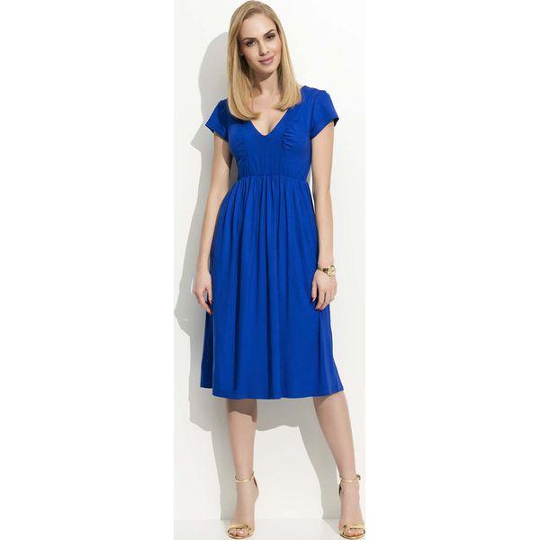 b2950d7b Chabrowa Sukienka Midi z Marszczeniami